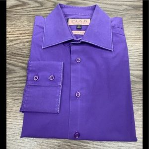 Thomas Pink Solid Purple Dress Shirt 15.5